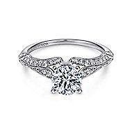 Elvira 18k White Gold Round Split Shank Engagement Ring angle 1