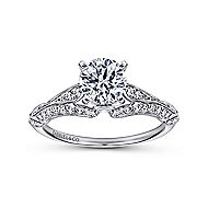 Elvira 18k White Gold Round Split Shank Engagement Ring angle 5