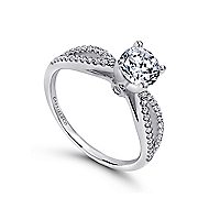 Elyse 14k White Gold Round Split Shank Engagement Ring angle 3