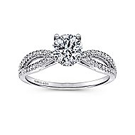 Elyse 14k White Gold Round Split Shank Engagement Ring angle 5