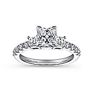 Emerson 14k White Gold Princess Cut 3 Stones Engagement Ring angle 5