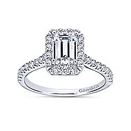 Emery 14k White Gold Emerald Cut Halo Engagement Ring angle 5