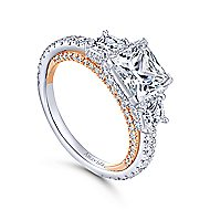 Emily 18k White And Rose Gold Princess Cut 3 Stones Halo Engagement Ring angle 3