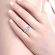 Emily 18k White And Rose Gold Princess Cut 3 Stones Halo Engagement Ring angle 6