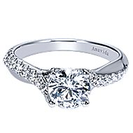 Endless 18k White Gold Round Twisted Engagement Ring