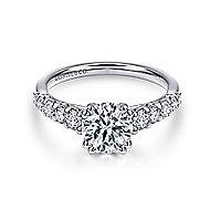 Eniko 18k White Gold Round Straight Engagement Ring angle 1