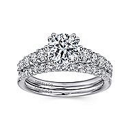 Eniko 18k White Gold Round Straight Engagement Ring angle 4