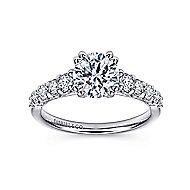 Eniko 18k White Gold Round Straight Engagement Ring angle 5