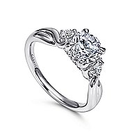 Enlightened 18k White Gold Round Twisted Engagement Ring