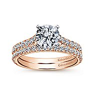 Erica 14k White And Rose Gold Round Straight Engagement Ring angle 4