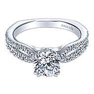 Erin 18k White Gold Round Split Shank Engagement Ring angle 1