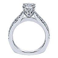 Erin 18k White Gold Round Split Shank Engagement Ring angle 2