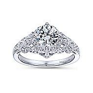 Esmerelda Platinum Round Straight Engagement Ring