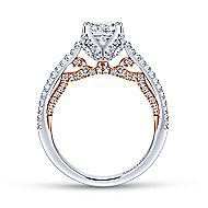 Esperanza 18k White And Rose Gold Princess Cut Split Shank Engagement Ring angle 2