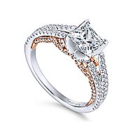 Esperanza 18k White And Rose Gold Princess Cut Split Shank Engagement Ring angle 3