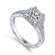 Estelle 14k White Gold Princess Cut Halo Engagement Ring angle 3