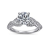 Estrella 18k White Gold Round Twisted Engagement Ring