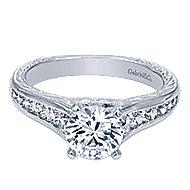 Etta 14k White Gold Round Straight Engagement Ring