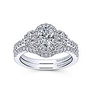 Eudora 14k White Gold Oval Halo Engagement Ring