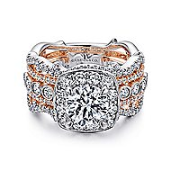 Eugenie 14k White And Rose Gold Round Halo Engagement Ring angle 1
