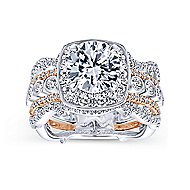Eugenie 14k White And Rose Gold Round Halo Engagement Ring angle 5