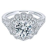 Euphoria 18k White Gold Round Double Halo Engagement Ring angle 1