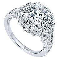 Euphoria 18k White Gold Round Double Halo Engagement Ring angle 3