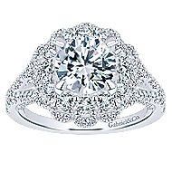 Euphoria 18k White Gold Round Double Halo Engagement Ring angle 5