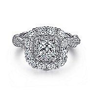 Evangelina 14k White Gold Cushion Cut Double Halo Engagement Ring angle 1