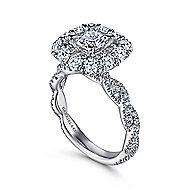 Evangelina 14k White Gold Cushion Cut Double Halo Engagement Ring angle 3