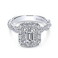 Evangelina 14k White Gold Emerald Cut Double Halo Engagement Ring angle 1