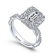 Evangelina 14k White Gold Emerald Cut Double Halo Engagement Ring angle 3