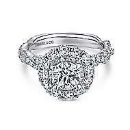 Evangelina 14k White Gold Round Double Halo Engagement Ring angle 1