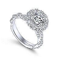 Evangelina 14k White Gold Round Double Halo Engagement Ring angle 3