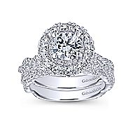 Evangelina 14k White Gold Round Double Halo Engagement Ring angle 4