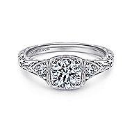 Evangeline Platinum Round 3 Stones Engagement Ring angle 1