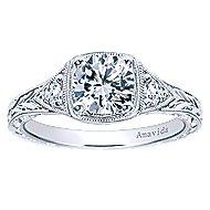 Evangeline Platinum Round 3 Stones Engagement Ring angle 5