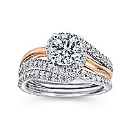 Everly 14k White And Rose Gold Round Bypass Engagement Ring angle 4