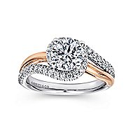 Everly 14k White And Rose Gold Round Bypass Engagement Ring angle 5