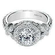 Evolve 18k White Gold Round Halo Engagement Ring angle 1
