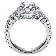 Evolve 18k White Gold Round Halo Engagement Ring angle 2