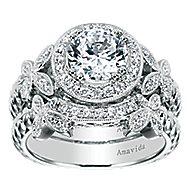 Evolve 18k White Gold Round Halo Engagement Ring angle 4
