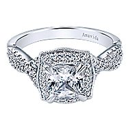 Exquisite 18k White Gold Cushion Cut Halo Engagement Ring angle 1