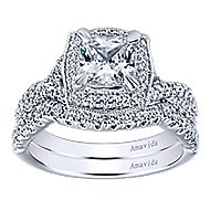 Exquisite 18k White Gold Cushion Cut Halo Engagement Ring angle 4