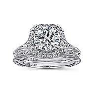 Faith 18k White Gold Round Halo Engagement Ring angle 4