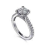 Farrah 14k White Gold Round Straight Engagement Ring angle 3