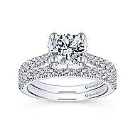 Farrah 14k White Gold Round Straight Engagement Ring angle 4