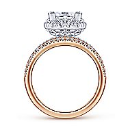 Feline 18k White And Rose Gold Princess Cut Halo Engagement Ring angle 2