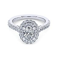 Flora 14k White Gold Oval Double Halo Engagement Ring angle 1