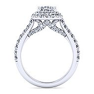 Flora 14k White Gold Oval Double Halo Engagement Ring angle 2